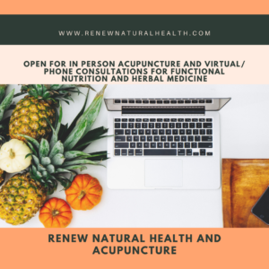 Image of a laptop and assorted fruit that has text that reads Open For Virtual Wellness, Functional Nutrition and Herbal Medicine Consultations.