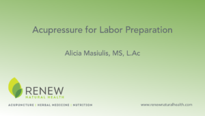 Acupressure for labor preperation title page